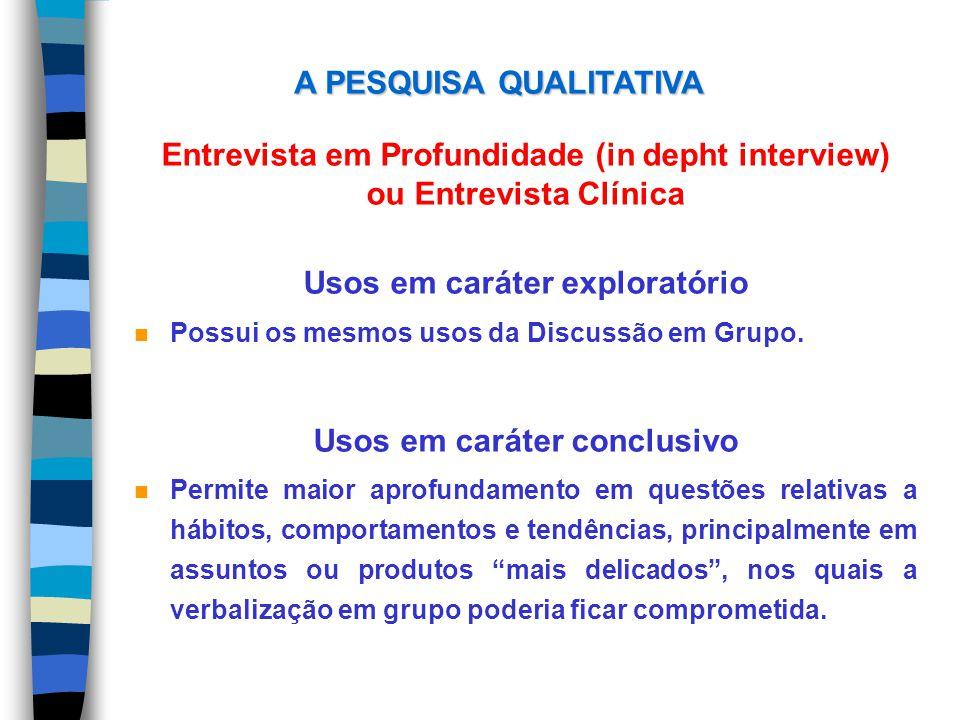 Entrevista em Profundidade (in depht interview) ou Entrevista Clínica Usos em caráter exploratório n Possui os mesmos usos da Discussão em Grupo. Usos