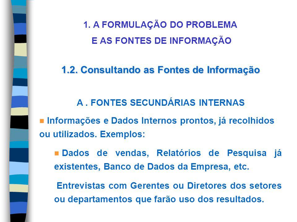 1. A FORMULAÇÃO DO PROBLEMA E AS FONTES DE INFORMAÇÃO 1.2. Consultando as Fontes de Informação A. FONTES SECUNDÁRIAS INTERNAS n Informações e Dados In