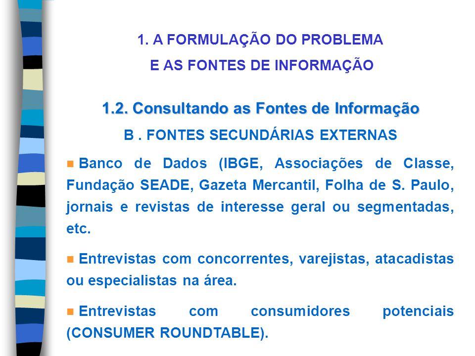 1. A FORMULAÇÃO DO PROBLEMA E AS FONTES DE INFORMAÇÃO 1.2. Consultando as Fontes de Informação B. FONTES SECUNDÁRIAS EXTERNAS n Banco de Dados (IBGE,