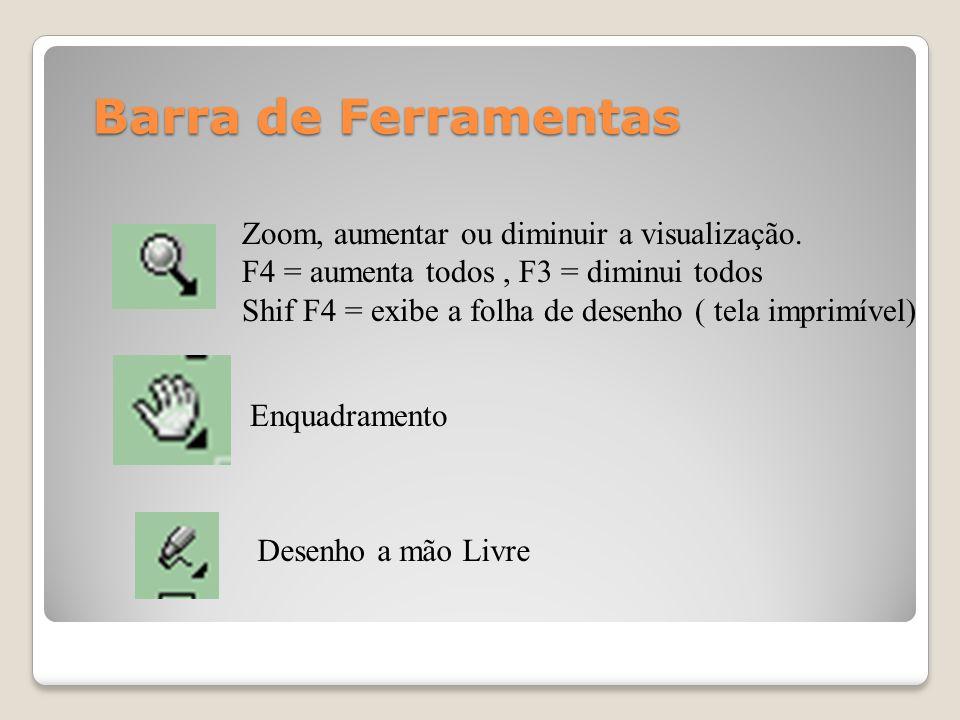 Enquadramento Zoom, aumentar ou diminuir a visualização. F4 = aumenta todos, F3 = diminui todos Shif F4 = exibe a folha de desenho ( tela imprimível)
