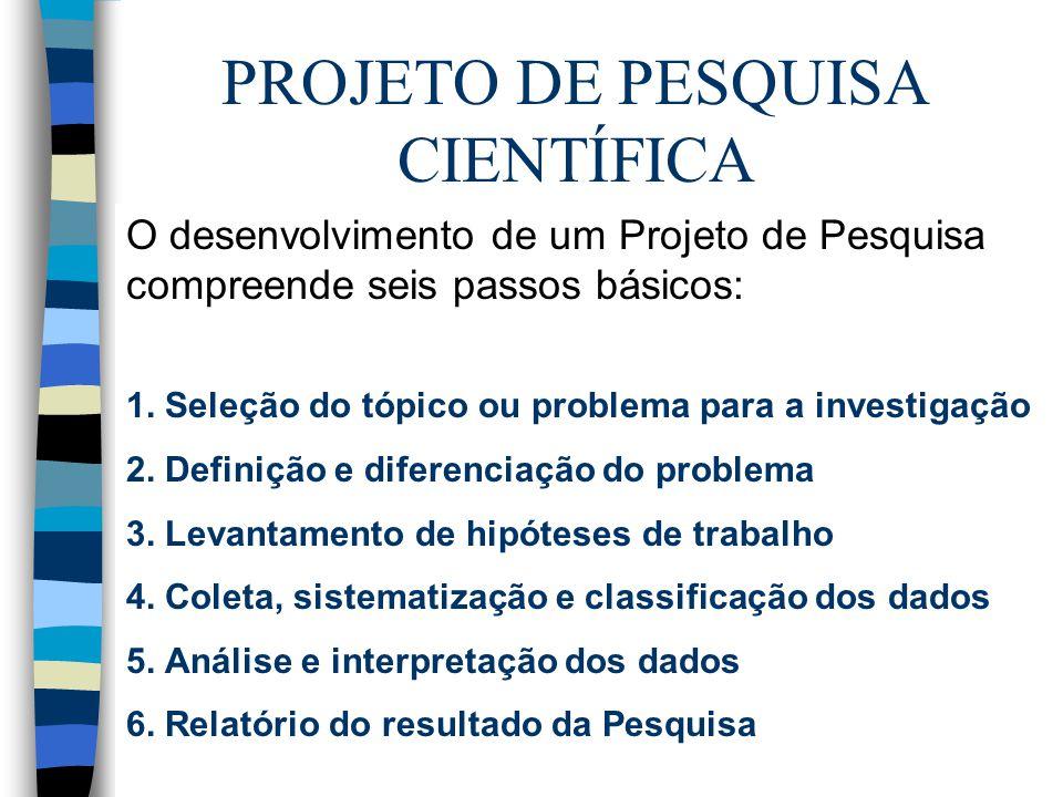 PROJETO DE PESQUISA CIENTÍFICA O desenvolvimento de um Projeto de Pesquisa compreende seis passos básicos: 1. Seleção do tópico ou problema para a inv