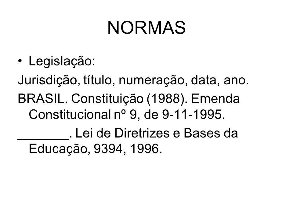 NORMAS Legislação: Jurisdição, título, numeração, data, ano. BRASIL. Constituição (1988). Emenda Constitucional nº 9, de 9-11-1995. _______. Lei de Di