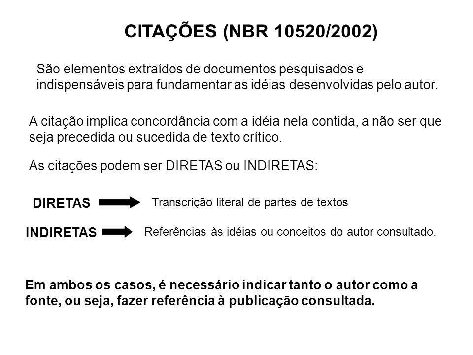 CITAÇÕES (NBR 10520/2002) São elementos extraídos de documentos pesquisados e indispensáveis para fundamentar as idéias desenvolvidas pelo autor. A ci