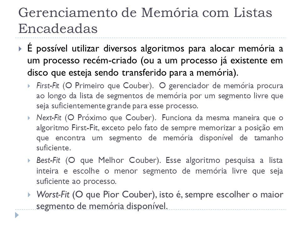 Gerenciamento de Memória com Listas Encadeadas É possível utilizar diversos algoritmos para alocar memória a um processo recém-criado (ou a um process