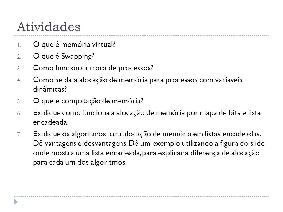 Atividades 1. O que é memória virtual? 2. O que é Swapping? 3. Como funciona a troca de processos? 4. Como se da a alocação de memória para processos