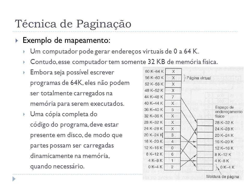 Técnica de Paginação Exemplo de mapeamento: Um computador pode gerar endereços virtuais de 0 a 64 K. Contudo, esse computador tem somente 32 KB de mem