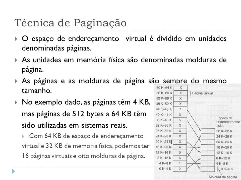 Técnica de Paginação O espaço de endereçamento virtual é dividido em unidades denominadas páginas. As unidades em memória física são denominadas moldu