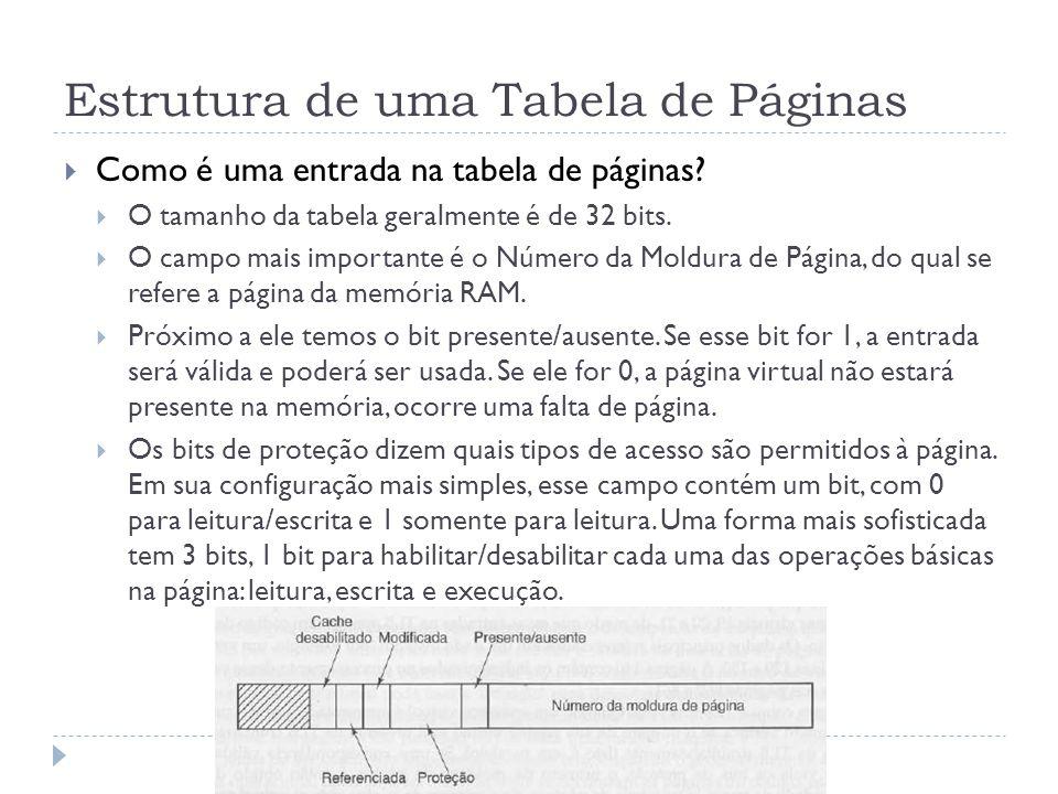 Estrutura de uma Tabela de Páginas Como é uma entrada na tabela de páginas? O tamanho da tabela geralmente é de 32 bits. O campo mais importante é o N