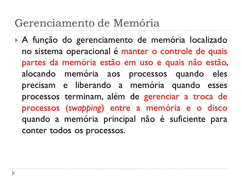 Gerenciamento de Memória A função do gerenciamento de memória localizado no sistema operacional é manter o controle de quais partes da memória estão e
