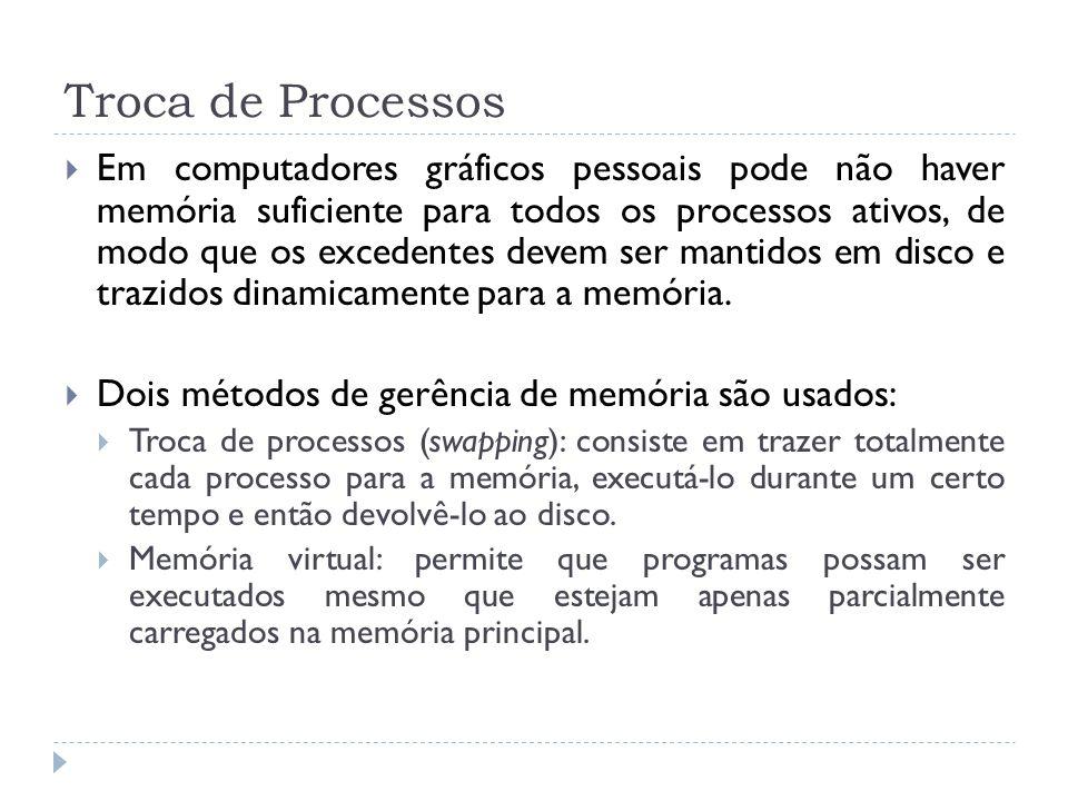Troca de Processos Em computadores gráficos pessoais pode não haver memória suficiente para todos os processos ativos, de modo que os excedentes devem