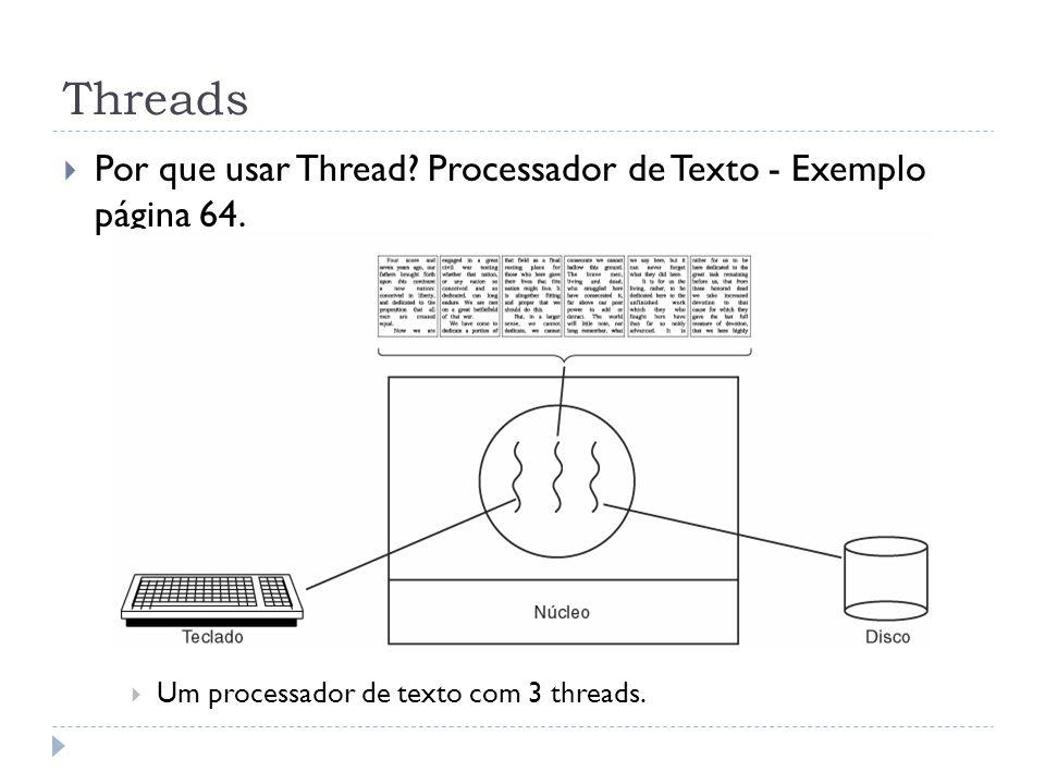 Threads Por que usar Thread? Processador de Texto - Exemplo página 64. Um processador de texto com 3 threads.