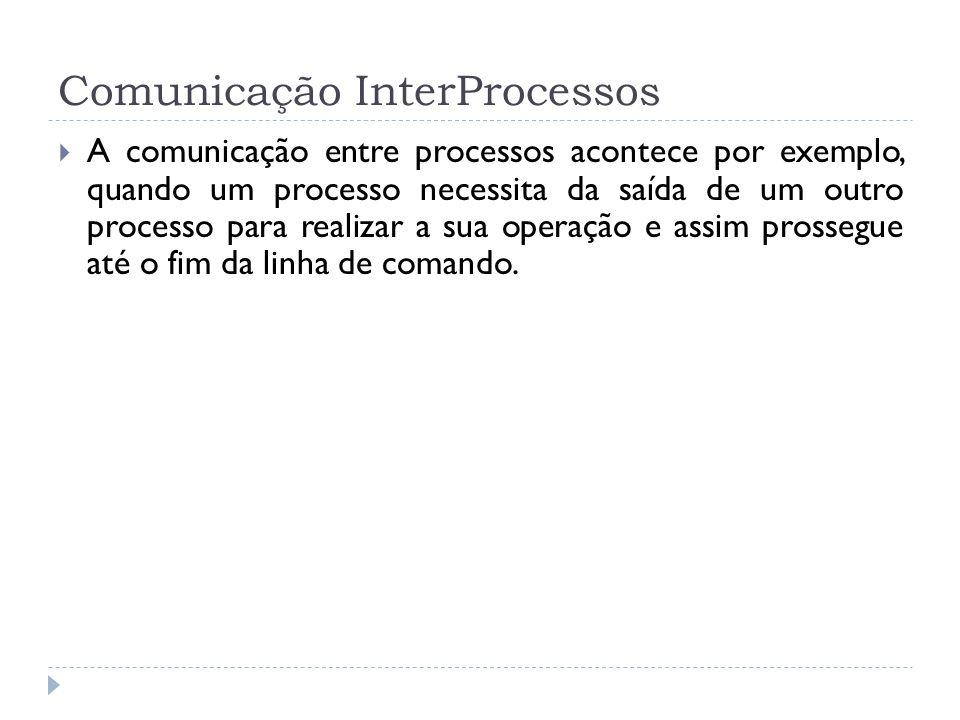 Comunicação InterProcessos A comunicação entre processos acontece por exemplo, quando um processo necessita da saída de um outro processo para realiza