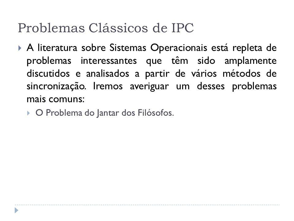 Problemas Clássicos de IPC A literatura sobre Sistemas Operacionais está repleta de problemas interessantes que têm sido amplamente discutidos e anali