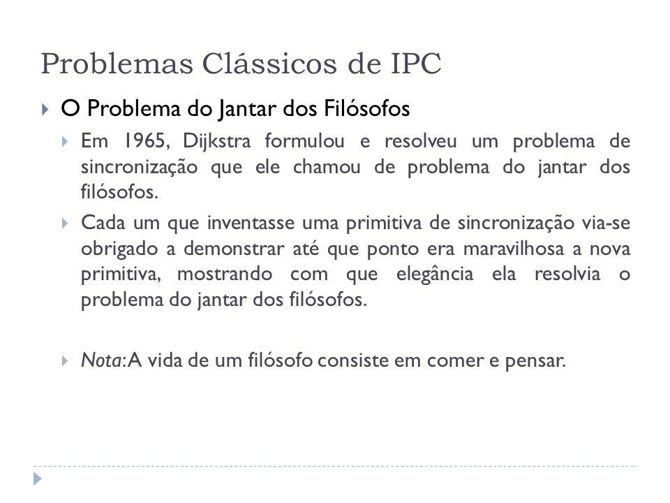 Problemas Clássicos de IPC O Problema do Jantar dos Filósofos Em 1965, Dijkstra formulou e resolveu um problema de sincronização que ele chamou de pro