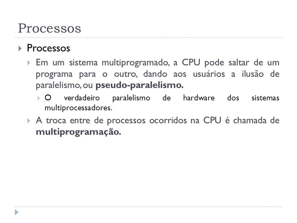 Processos Em um sistema multiprogramado, a CPU pode saltar de um programa para o outro, dando aos usuários a ilusão de paralelismo, ou pseudo-paraleli