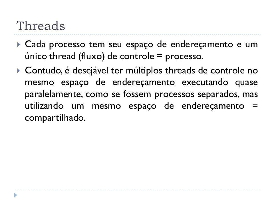 Threads Cada processo tem seu espaço de endereçamento e um único thread (fluxo) de controle = processo. Contudo, é desejável ter múltiplos threads de