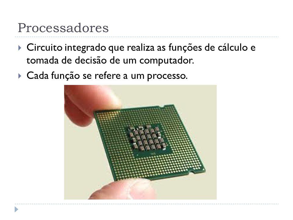 Processadores Circuito integrado que realiza as funções de cálculo e tomada de decisão de um computador. Cada função se refere a um processo.