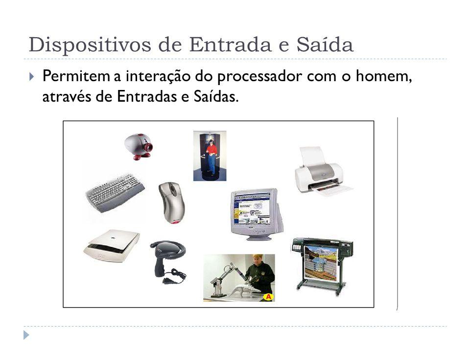 Dispositivos de Entrada e Saída Permitem a interação do processador com o homem, através de Entradas e Saídas.