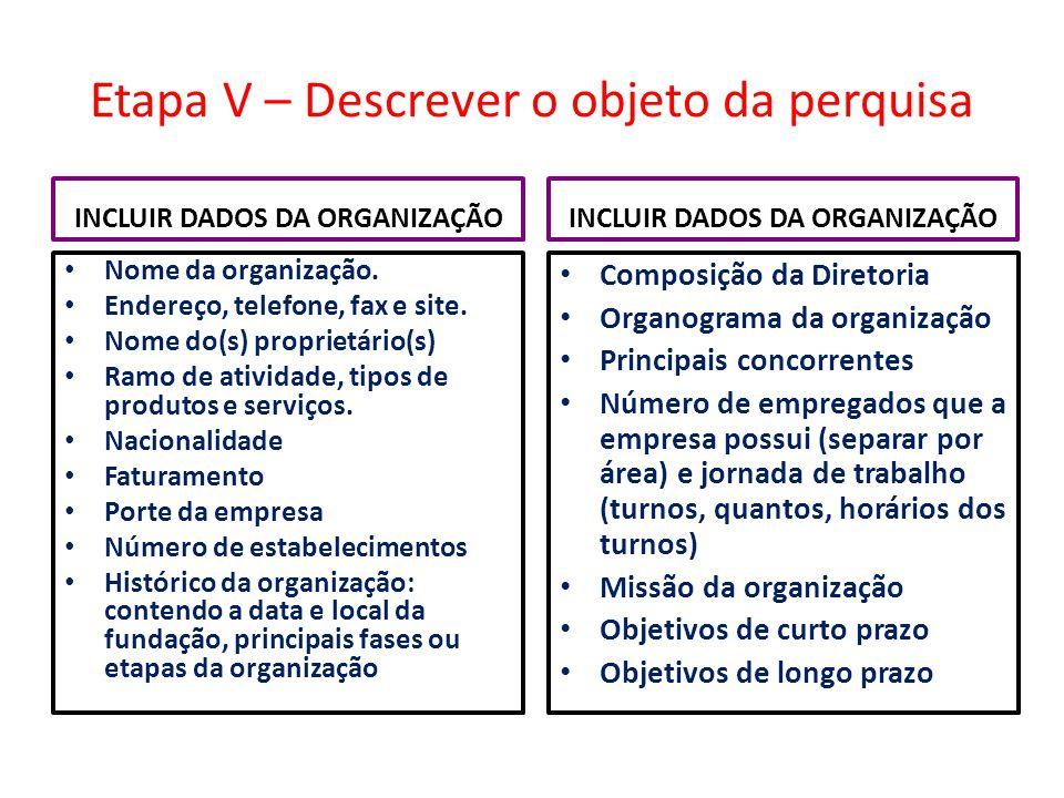 Etapa V – Descrever o objeto da perquisa INCLUIR DADOS DA ORGANIZAÇÃO Nome da organização. Endereço, telefone, fax e site. Nome do(s) proprietário(s)