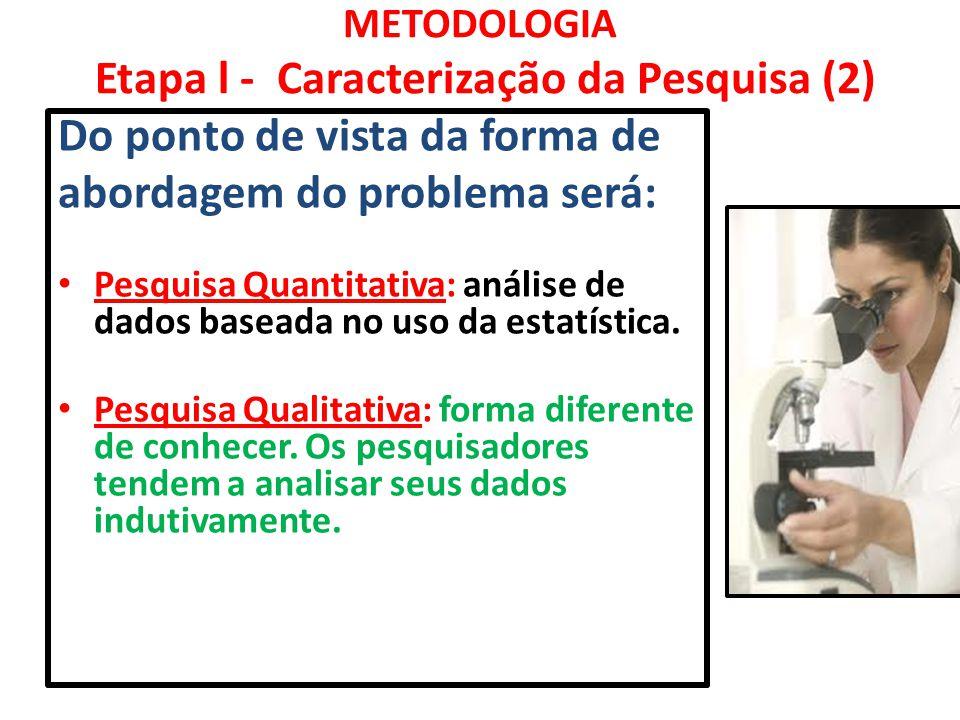 METODOLOGIA Etapa l - Caracterização da Pesquisa (2) Do ponto de vista da forma de abordagem do problema será: Pesquisa Quantitativa: análise de dados