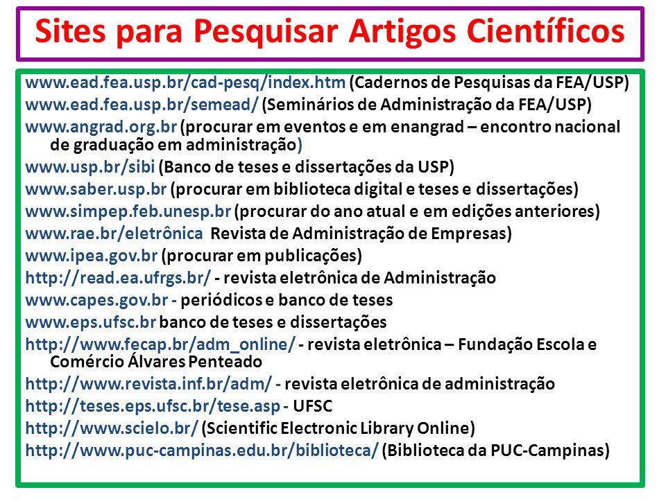 Sites para Pesquisar Artigos Científicos www.ead.fea.usp.br/cad-pesq/index.htm (Cadernos de Pesquisas da FEA/USP) www.ead.fea.usp.br/semead/ (Seminári