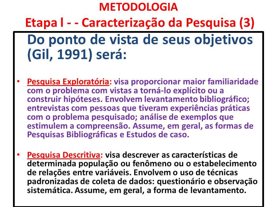 METODOLOGIA Etapa l - - Caracterização da Pesquisa (3) Do ponto de vista de seus objetivos (Gil, 1991) será: Pesquisa Exploratória: visa proporcionar