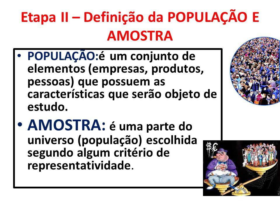 Etapa II – Definição da POPULAÇÃO E AMOSTRA POPULAÇÃO:é um conjunto de elementos (empresas, produtos, pessoas) que possuem as características que serã