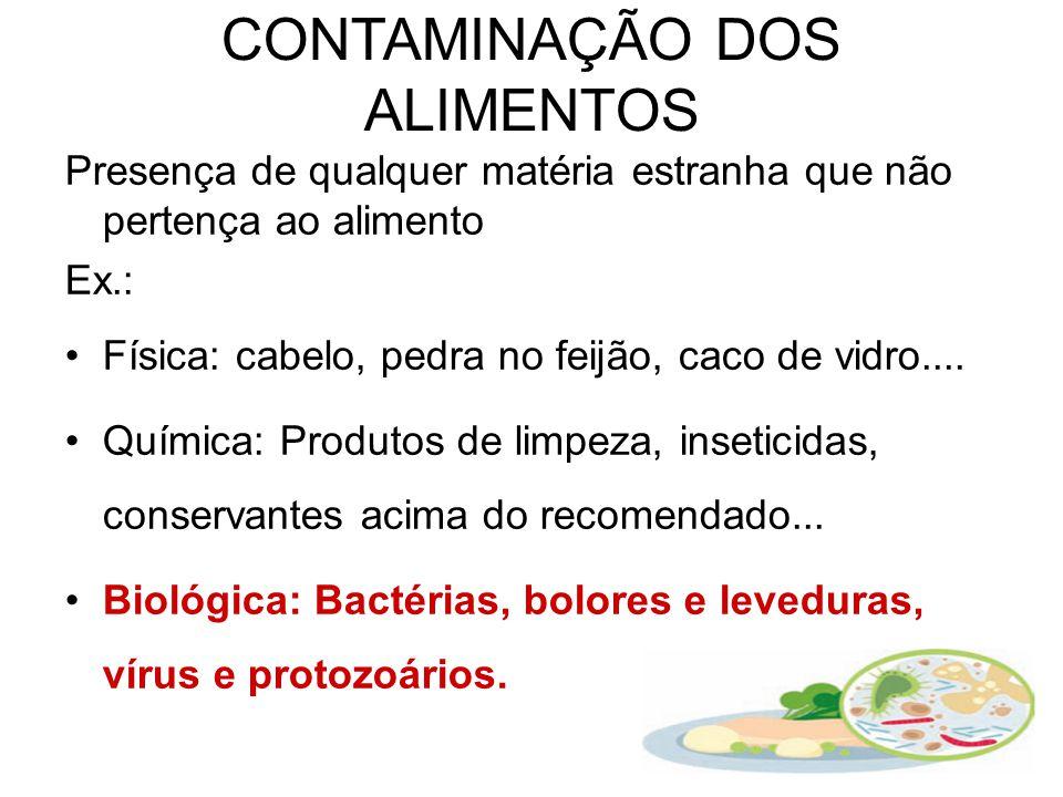 CONTAMINAÇÃO DOS ALIMENTOS Presença de qualquer matéria estranha que não pertença ao alimento Ex.: Física: cabelo, pedra no feijão, caco de vidro....
