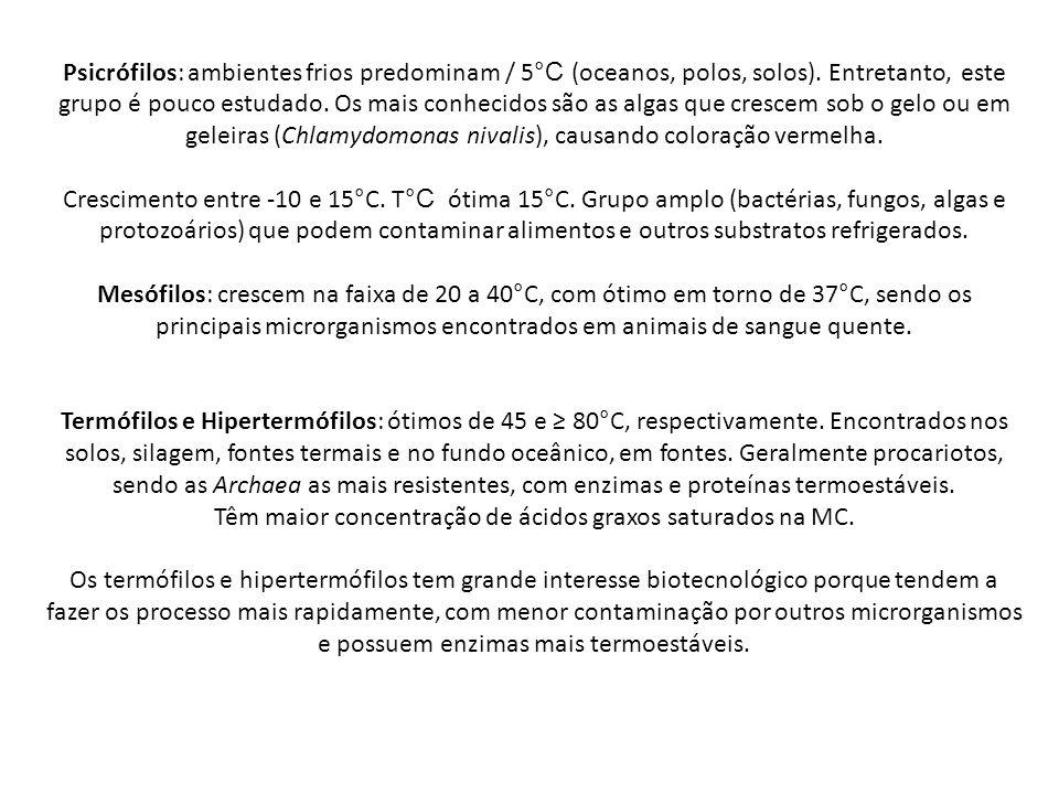 Psicrófilos: ambientes frios predominam / 5 °C (oceanos, polos, solos).