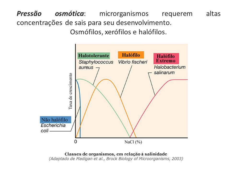 Pressão osmótica: microrganismos requerem altas concentrações de sais para seu desenvolvimento.
