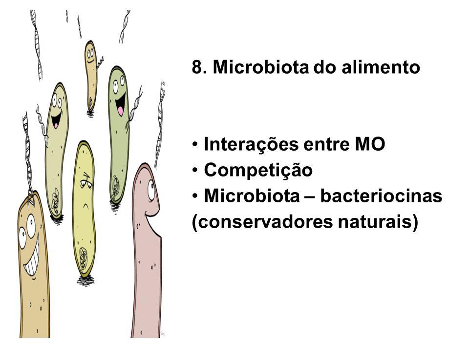 8. Microbiota do alimento Interações entre MO Competição Microbiota – bacteriocinas (conservadores naturais)