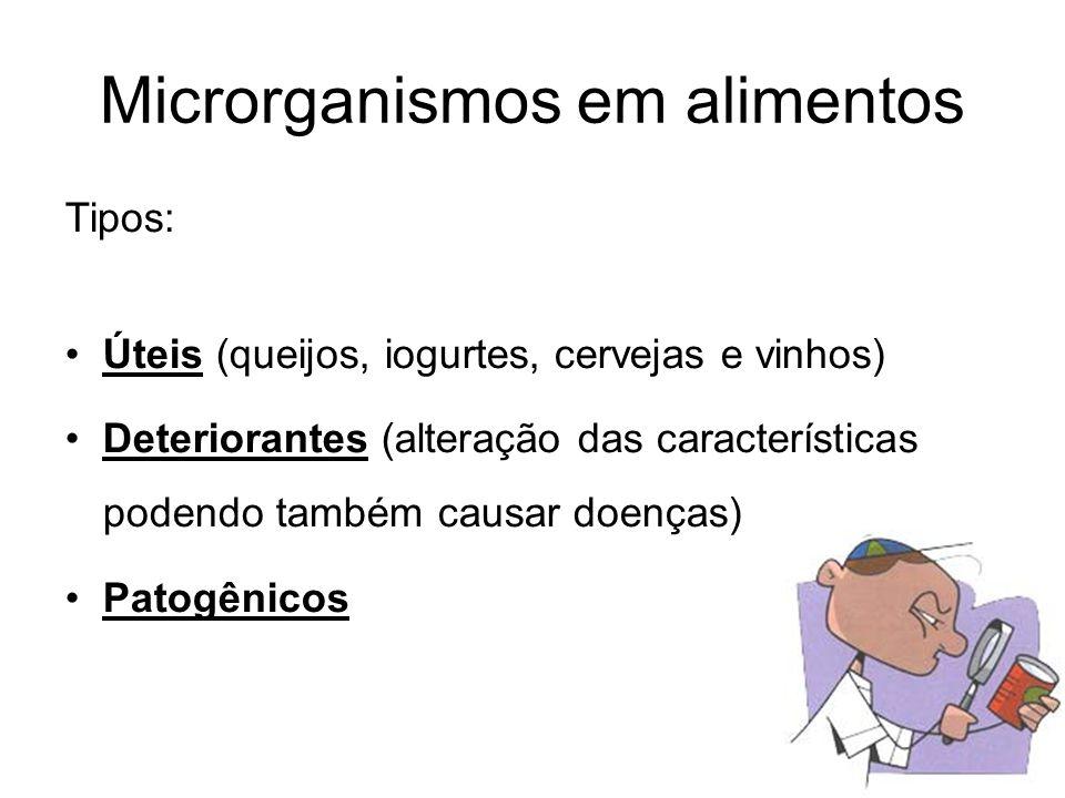 Microrganismos em alimentos Tipos: Úteis (queijos, iogurtes, cervejas e vinhos) Deteriorantes (alteração das características podendo também causar doenças) Patogênicos