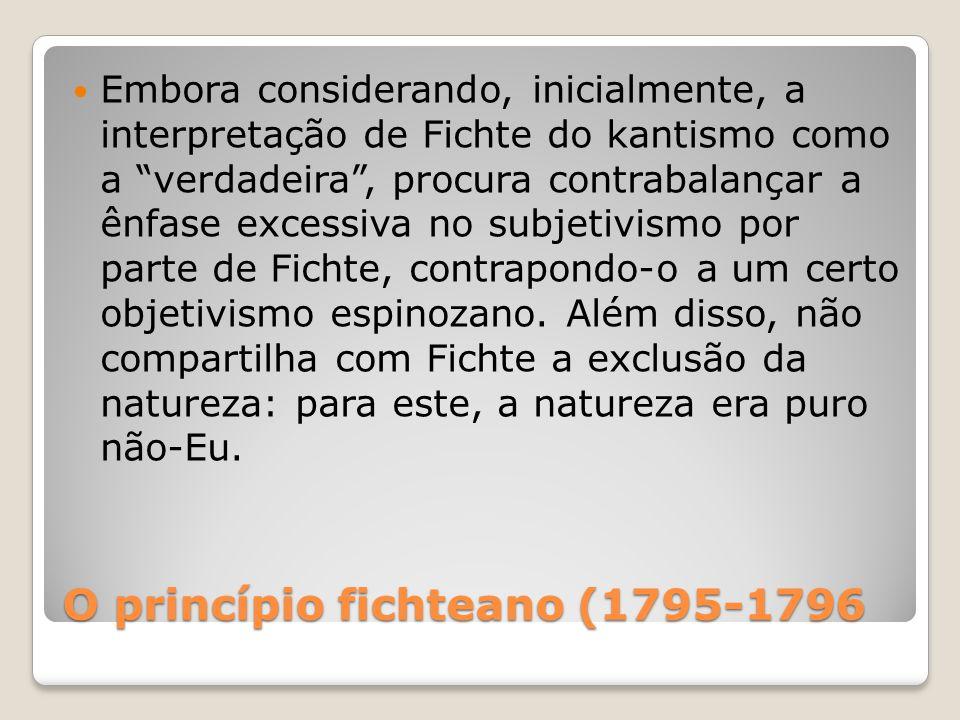 O princípio fichteano (1795-1796 Embora considerando, inicialmente, a interpretação de Fichte do kantismo como a verdadeira, procura contrabalançar a