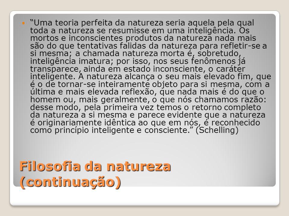 Filosofia da natureza (continuação) Uma teoria perfeita da natureza seria aquela pela qual toda a natureza se resumisse em uma inteligência. Os mortos