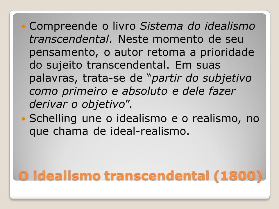 O idealismo transcendental (1800) Compreende o livro Sistema do idealismo transcendental. Neste momento de seu pensamento, o autor retoma a prioridade