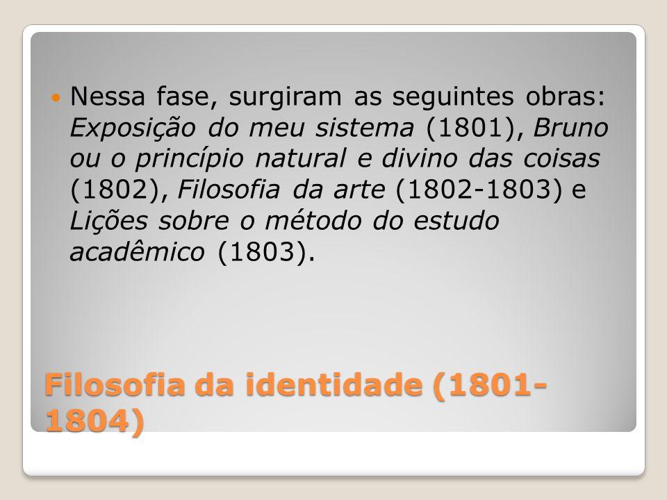 Filosofia da identidade (1801- 1804) Nessa fase, surgiram as seguintes obras: Exposição do meu sistema (1801), Bruno ou o princípio natural e divino d