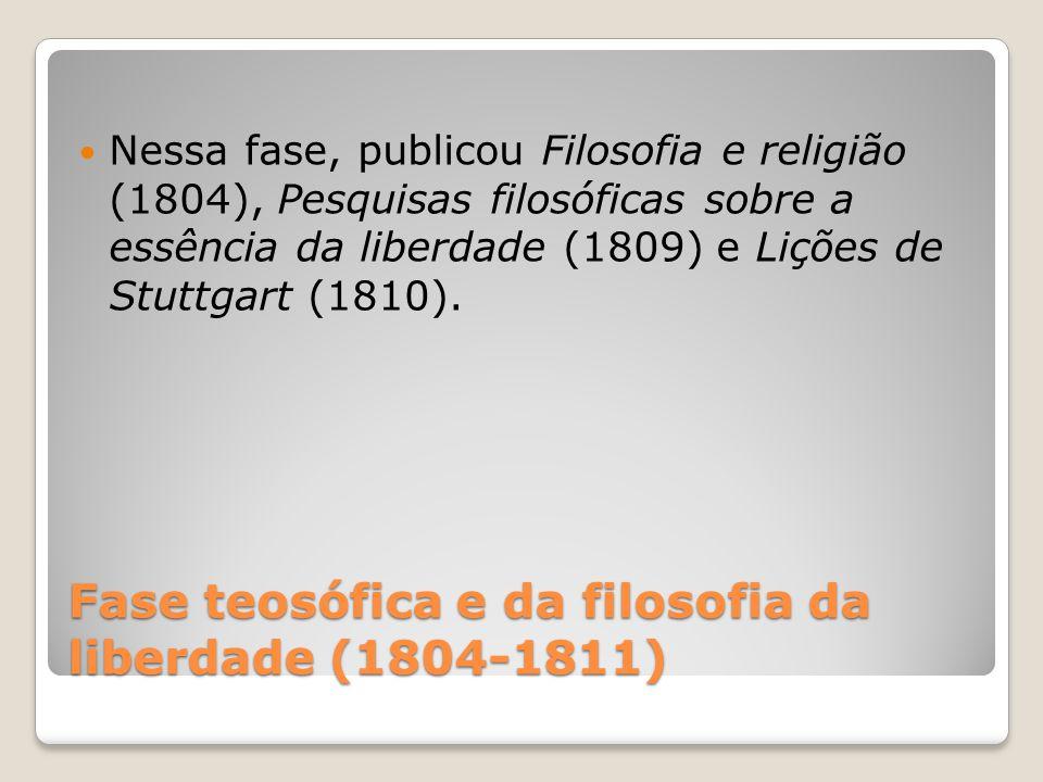 Fase teosófica e da filosofia da liberdade (1804-1811) Nessa fase, publicou Filosofia e religião (1804), Pesquisas filosóficas sobre a essência da lib