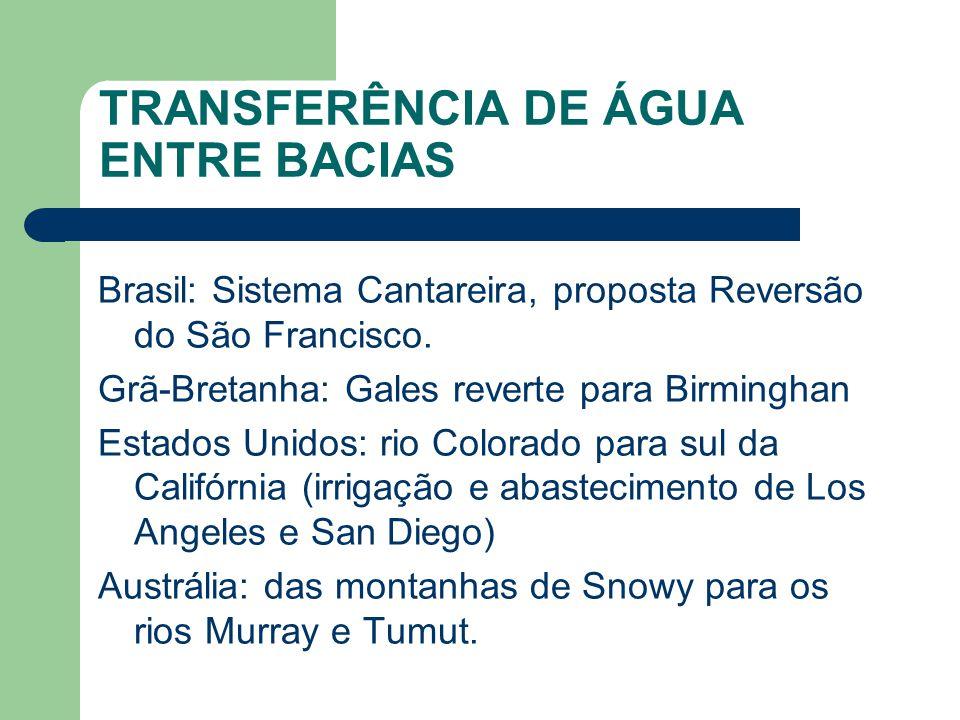 TRANSFERÊNCIA DE ÁGUA ENTRE BACIAS Brasil: Sistema Cantareira, proposta Reversão do São Francisco.