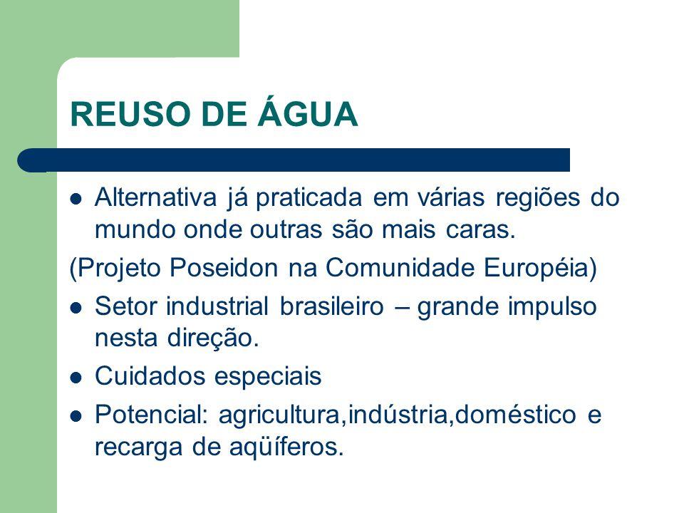 REUSO DE ÁGUA Alternativa já praticada em várias regiões do mundo onde outras são mais caras.