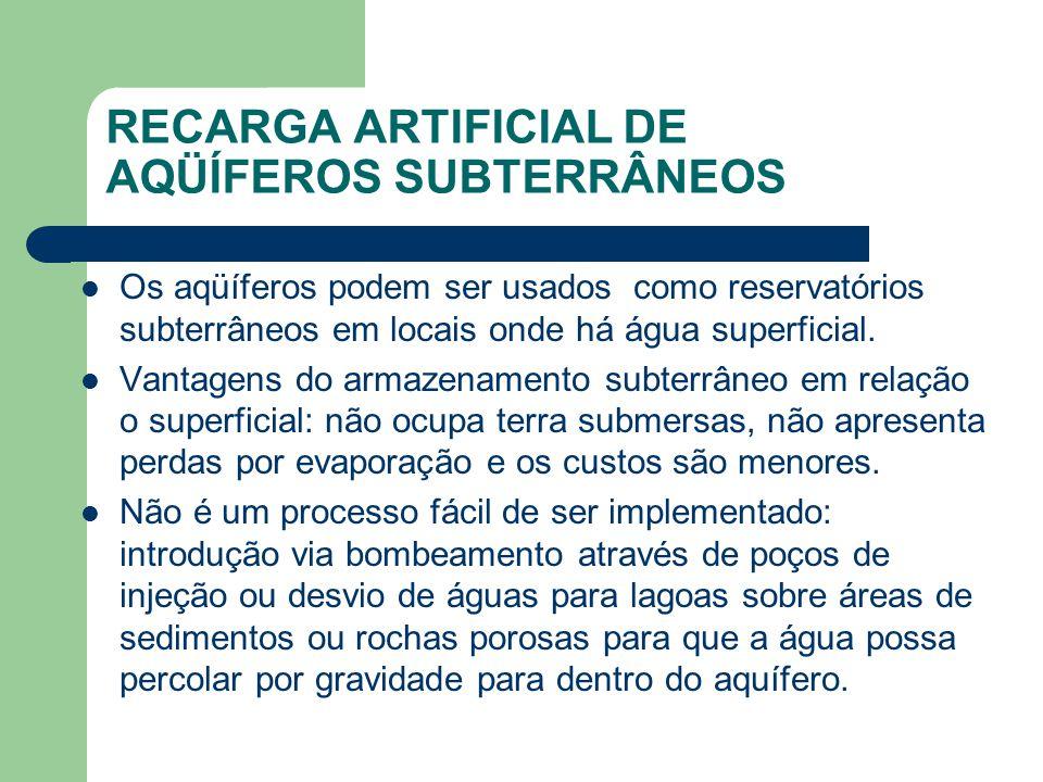RECARGA ARTIFICIAL DE AQÜÍFEROS SUBTERRÂNEOS Os aqüíferos podem ser usados como reservatórios subterrâneos em locais onde há água superficial.