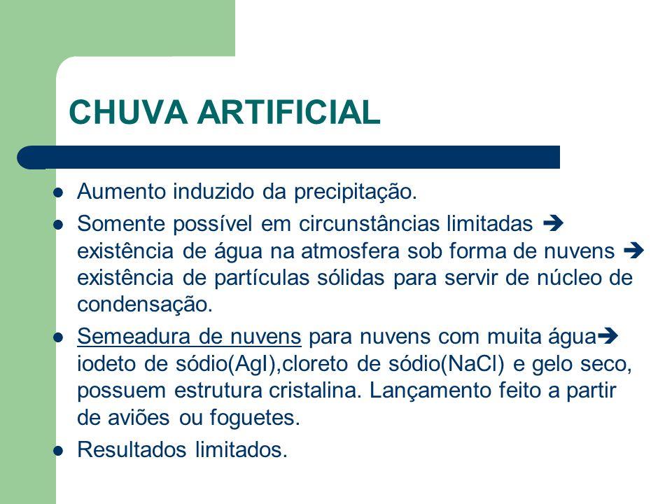 CHUVA ARTIFICIAL Aumento induzido da precipitação.