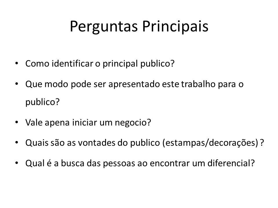 Perguntas Principais Como identificar o principal publico? Que modo pode ser apresentado este trabalho para o publico? Vale apena iniciar um negocio?