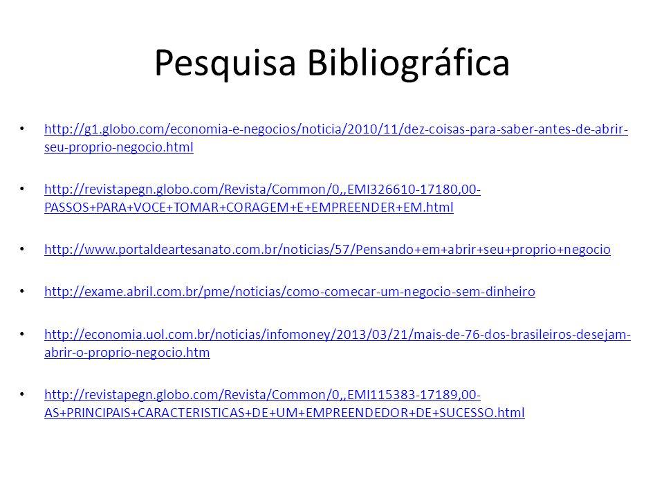 Pesquisa Bibliográfica http://g1.globo.com/economia-e-negocios/noticia/2010/11/dez-coisas-para-saber-antes-de-abrir- seu-proprio-negocio.html http://g