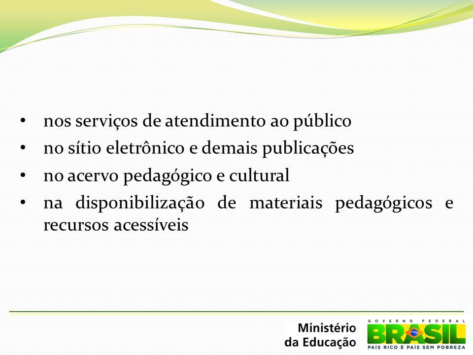 nos serviços de atendimento ao público no sítio eletrônico e demais publicações no acervo pedagógico e cultural na disponibilização de materiais pedag