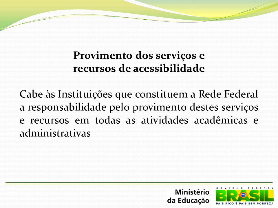 Provimento dos serviços e recursos de acessibilidade Cabe às Instituições que constituem a Rede Federal a responsabilidade pelo provimento destes serv