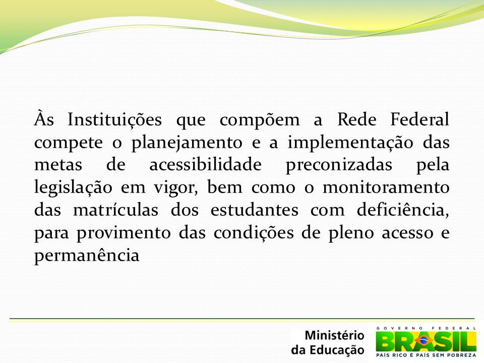 Às Instituições que compõem a Rede Federal compete o planejamento e a implementação das metas de acessibilidade preconizadas pela legislação em vigor,