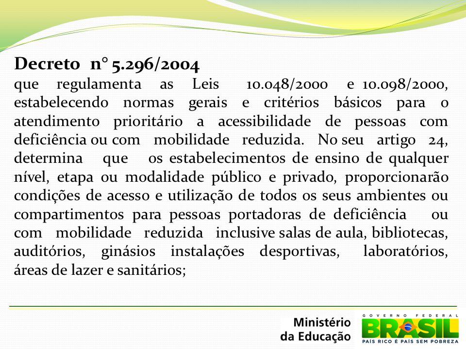 Decreto n° 5.296/2004 que regulamenta as Leis 10.048/2000 e 10.098/2000, estabelecendo normas gerais e critérios básicos para o atendimento prioritári