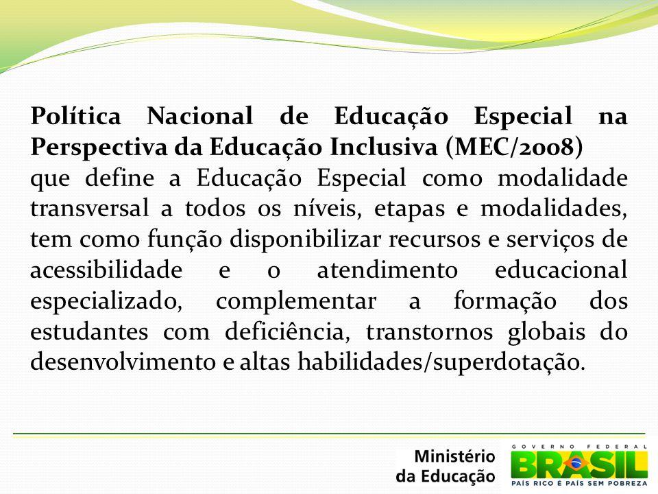 Política Nacional de Educação Especial na Perspectiva da Educação Inclusiva (MEC/2008) que define a Educação Especial como modalidade transversal a to