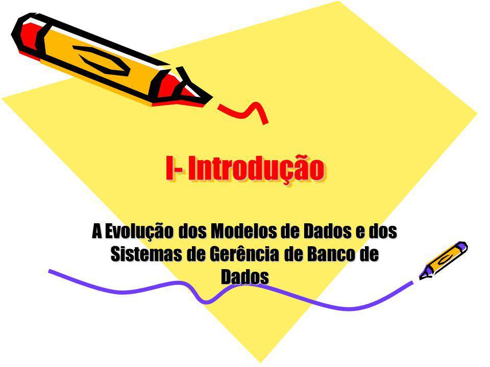 I- Introdução A Evolução dos Modelos de Dados e dos Sistemas de Gerência de Banco de Dados