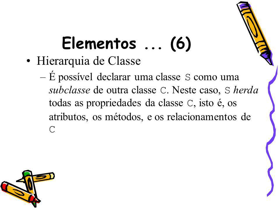 Elementos... (6) Hierarquia de Classe –É possível declarar uma classe S como uma subclasse de outra classe C. Neste caso, S herda todas as propriedade